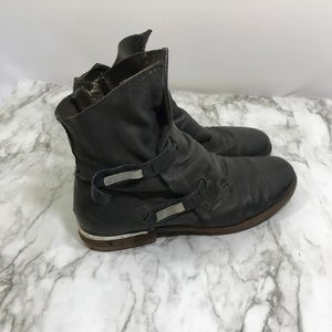 Free People A.S. 98 Black Buckle Leather Boots